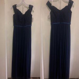 Off-the-Shoulder Lace & Mesh Bridesmaid Dress